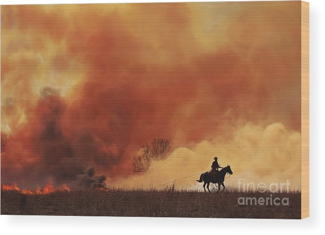 Flint Hills Prairie Burn Wood Print featuring the photograph Pulling Fire by Joenne Hartley