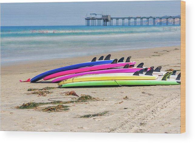 Surfboards Wood Print featuring the photograph Rainbow Boards by Joseph S Giacalone