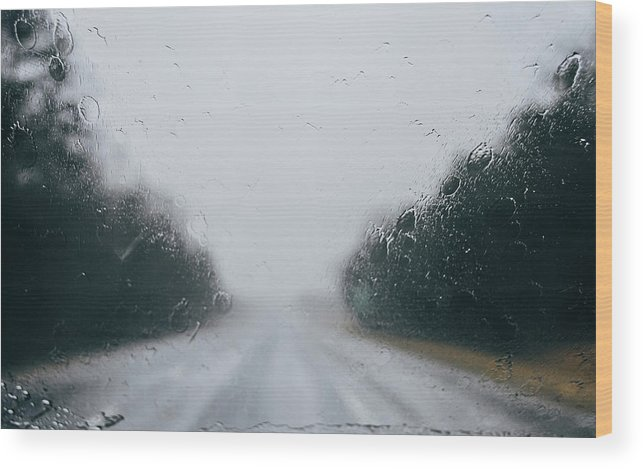 Wood Print featuring the photograph Rainy Road by Andrea Anderegg
