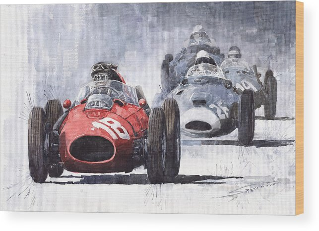 Auto Wood Print featuring the painting Red Car Ferrari D426 1958 Monza Phill Hill by Yuriy Shevchuk
