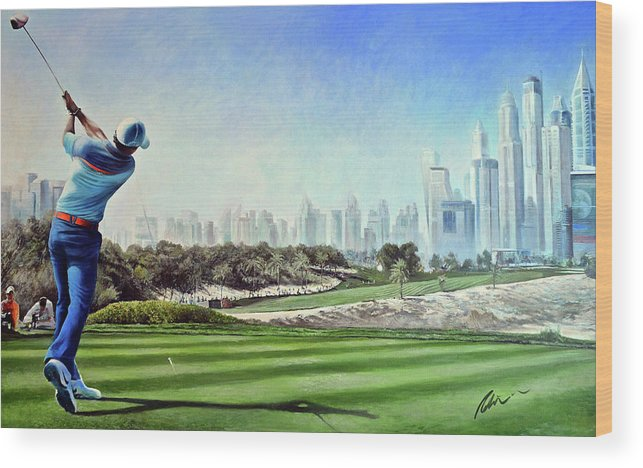 Rory Mcilroy Wood Print featuring the painting Rory At Ddc Emirates Gc Dubai 8th 2014 by Mark Robinson