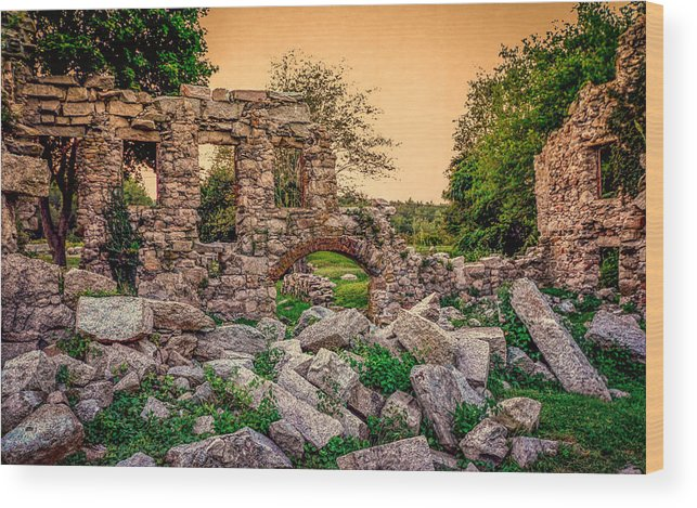 Abandoned Building Wood Print featuring the photograph Ruins Of White's Factory - Back To The Front by Black Brook Photography