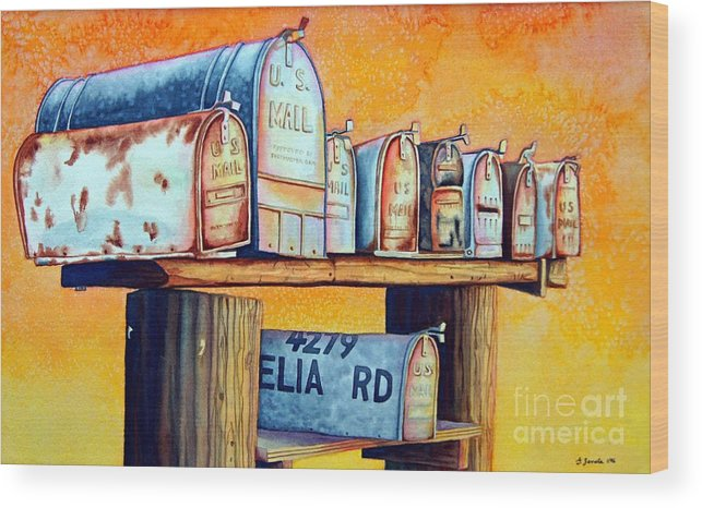 Mailboxes Wood Print featuring the painting Rural Route by Gail Zavala