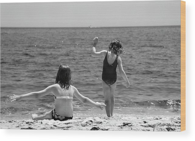 Girl Wood Print featuring the photograph Sand Dancers by Michelle Constantine