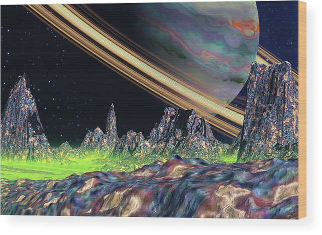 David Jackson Saturn View Alien Landscape Planets Scifi Wood Print featuring the digital art Saturn View by David Jackson