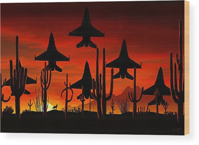 Fine Art Wood Print featuring the painting Sentinels by David Wagner