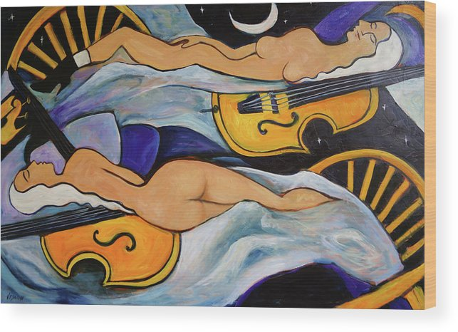 Musicians Wood Print featuring the painting Sleeping Cellists by Valerie Vescovi
