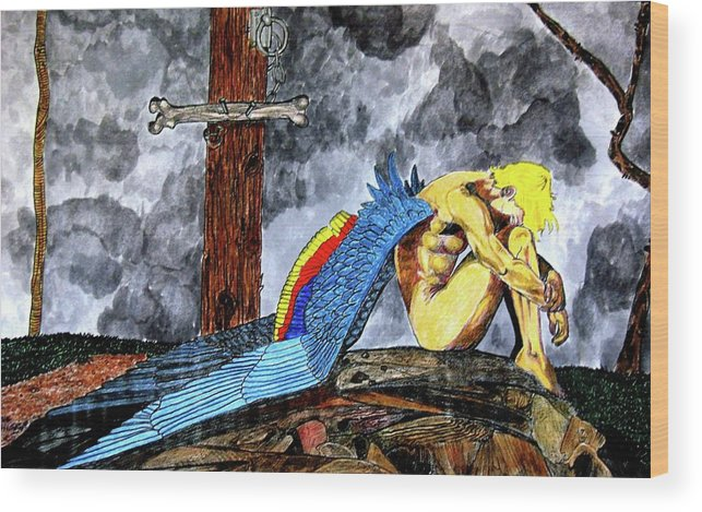 Angel Wood Print featuring the painting Sorrow's Angelic One by Doug Hiser