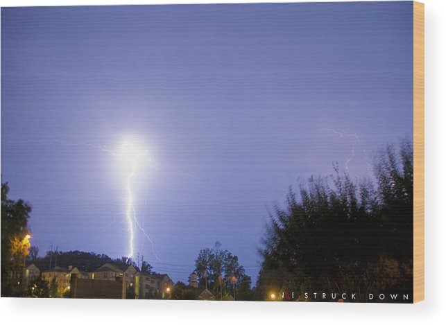 Lightening Wood Print featuring the photograph Struck Down by Jonathan Ellis Keys