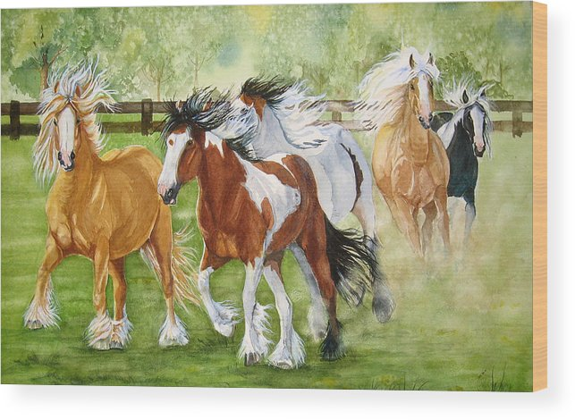 Horse Wood Print featuring the painting Summer Frolic by Gina Hall