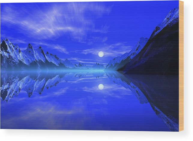 David Jackson The Fiords Of Thor Alien Landscape Planets Scifi Wood Print featuring the print The Fiords Of Thor. by David Jackson