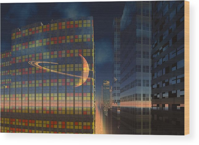 Scifi David Jackson Alienvisitor Space World Below The Rings Wood Print featuring the digital art The World Below The Rings by David Jackson
