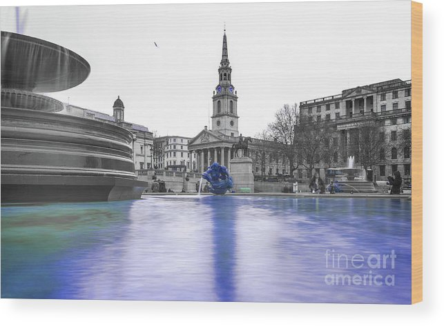 Street Artist Wood Print featuring the photograph Trafalgar Square Fountain London 3d by Alex Art and Photo