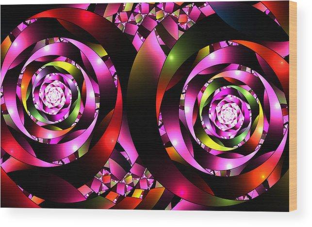 Elena Riim Wood Print featuring the digital art Twins Spiral by Elena Riim