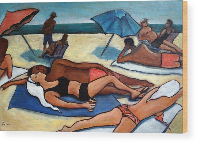 Beach Scene Wood Print featuring the painting Un Journee A La Plage by Valerie Vescovi