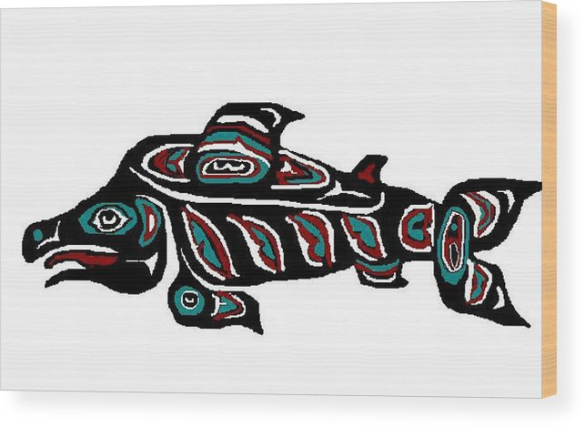 Fish Wood Print featuring the digital art Wild Salmon by Carole Boyd