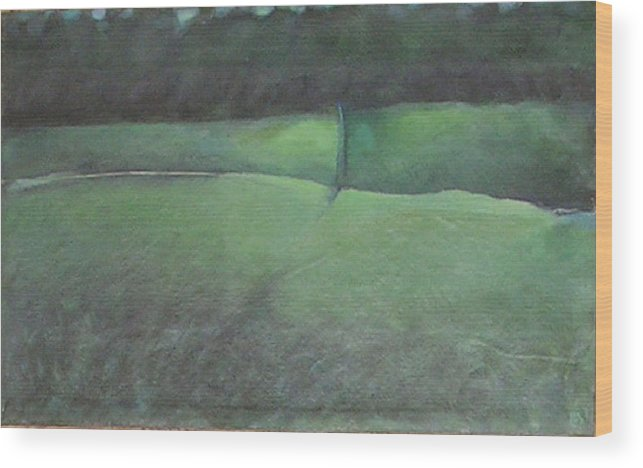 Landscape Wood Print featuring the painting You Remember Where The Old Road Went by Mary Brooking