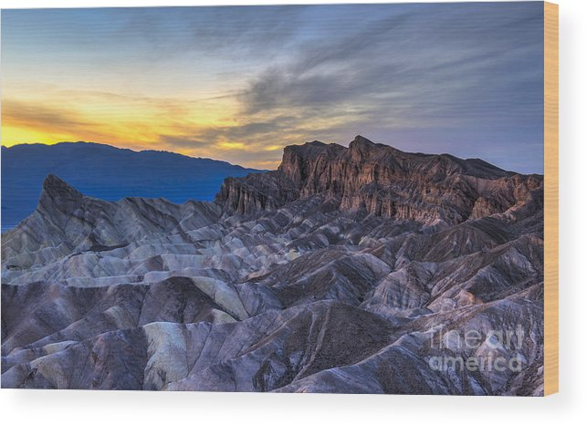 Adventure Wood Print featuring the photograph Zabriskie Point Sunset by Charles Dobbs