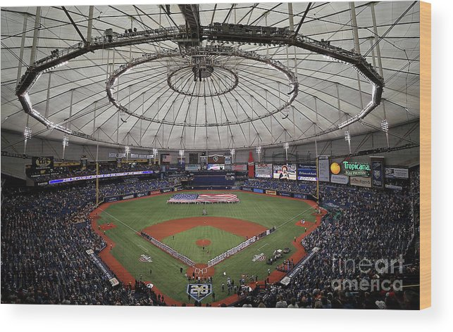 American League Baseball Wood Print featuring the photograph Boston Red Sox V Tampa Bay Rays by Mike Ehrmann