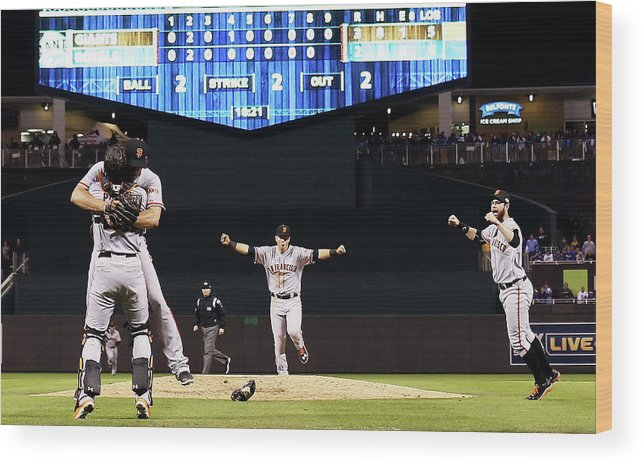 People Wood Print featuring the photograph World Series - San Francisco Giants V by Jamie Squire