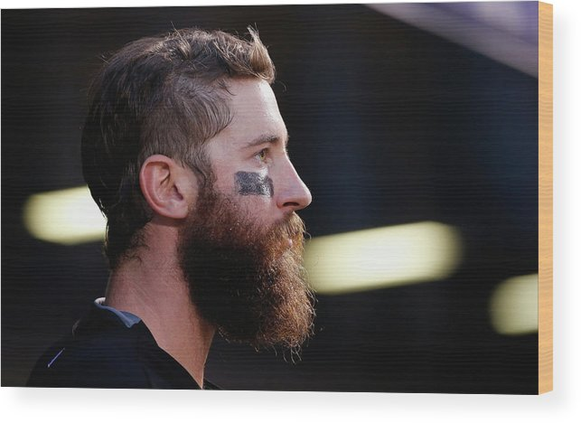 People Wood Print featuring the photograph Miami Marlins V Colorado Rockies 6 by Doug Pensinger