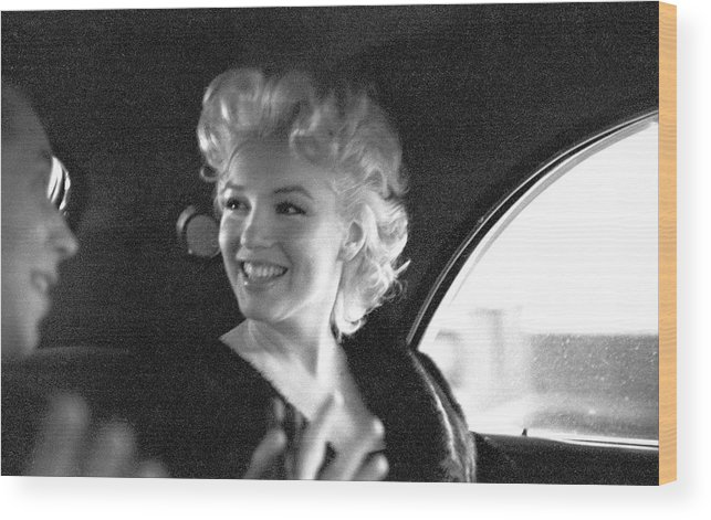 1950-1959 Wood Print featuring the photograph Marilyn & Dick by Michael Ochs Archives