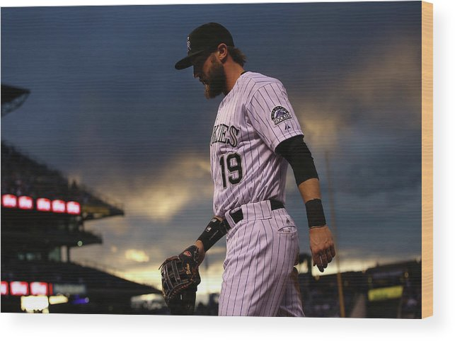 National League Baseball Wood Print featuring the photograph New York Mets V Colorado Rockies 14 by Doug Pensinger