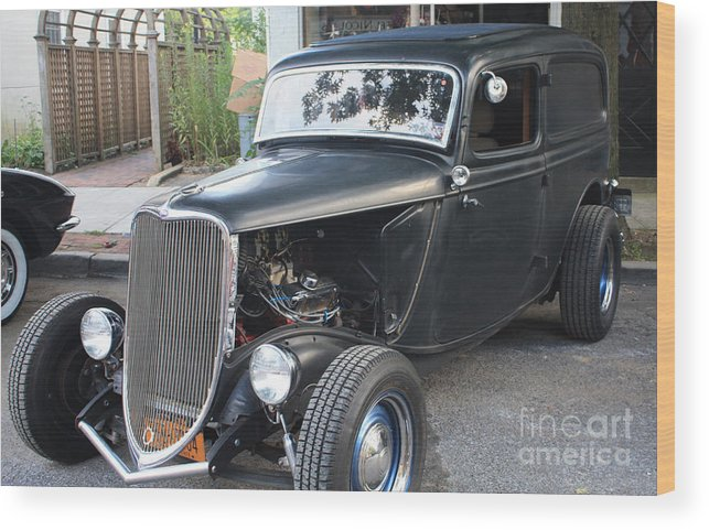 1933 Ford Two Door Sedan Front And Side View Wood Print featuring the photograph 1933 Ford Two Door Sedan Front And Side View by John Telfer