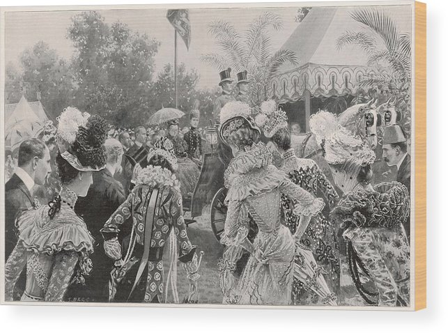 Garden Wood Print featuring the drawing Victoria And Her Daughter-in- Law by Illustrated London News Ltd/Mar