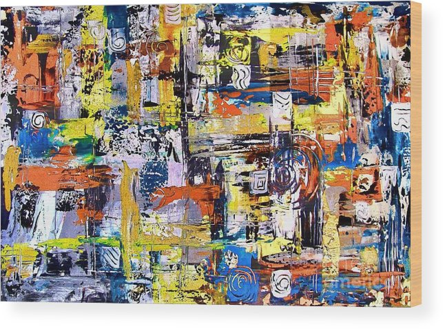 Abstraction Wood Print featuring the painting Abstraction 759 - Marucii by Marek Lutek