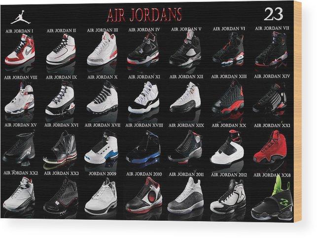 Michael Jordan Wood Print featuring the digital art Air Jordan Shoe Gallery by Brian Reaves