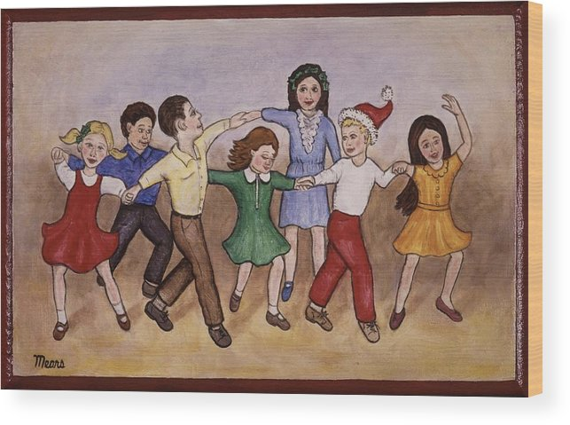 Painting Wood Print featuring the painting Children Dancing by Linda Mears