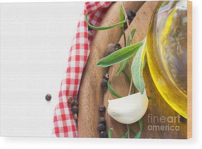 Appetizer Wood Print featuring the photograph Cooking Ingredients by Mythja Photography