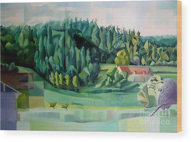 Forest Wood Print featuring the painting Forest Of L Hermitiere Or The Orchestra by Christian Simonian