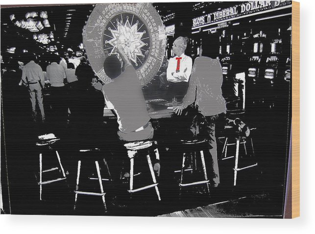 Gaming Tables Interior Binion's Horseshoe Casino Las Vegas Nevada 1979-2014 Wood Print featuring the photograph Gaming Tables Interior Binion's Horseshoe Casino Las Vegas Nevada 1979-2014 by David Lee Guss