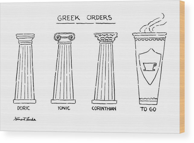 Greek Orders.title.drawing Of 4 Columns: Doric Wood Print featuring the drawing Greek Orders by Stuart Leeds