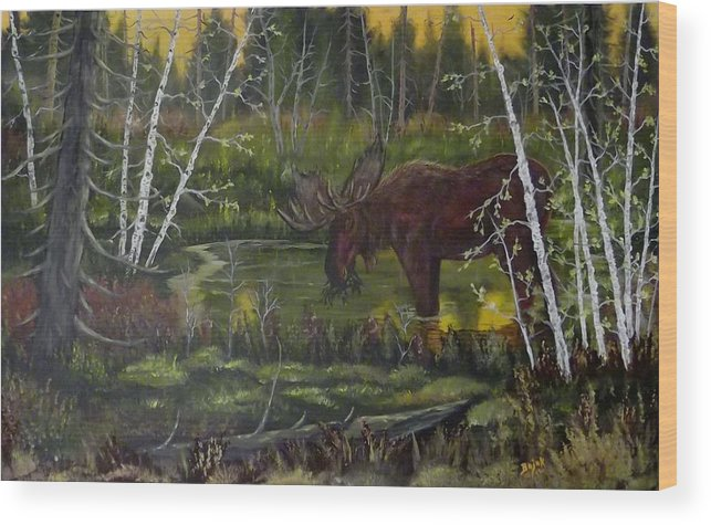 Moose Wood Print featuring the painting Green Pond by Rudolph Bajak