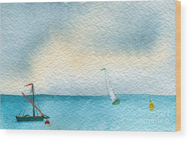 Art Artwork Painting Kyllo Sailboat Sail Sea Ocean Water Saltwater Boat Ship Blue Silhouette Watercolor Mast Moored Mooring Bouy Sailing Boating Boat Orange Buoy Maritime Navigational Aid Peace Peaceful Calm Calming Relax Relaxed Relaxing Restful Quiet Gray Bird Birds Gull Gulls Seagull Seagulls Furled Wood Print featuring the painting Gust by R Kyllo