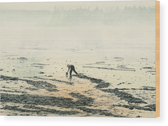 Maine Wood Print featuring the painting Harvesting The Flats by Brent Ander