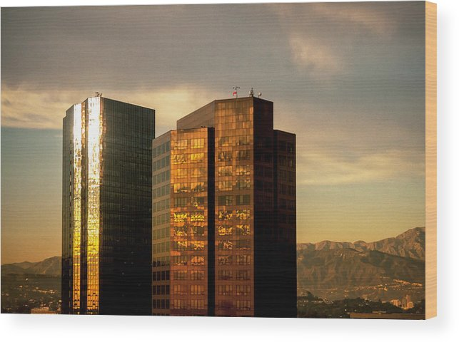 Buildings Wood Print featuring the photograph Reflections by Gabriel Peralto