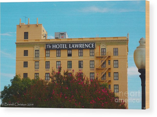 Dallas Wood Print featuring the photograph Hotel Lawrence by Brandi Christon