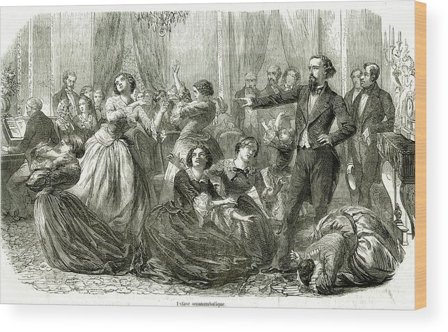 Hypnosis Wood Print featuring the drawing Hypnotism Becomes A Fashionable by Mary Evans Picture Library