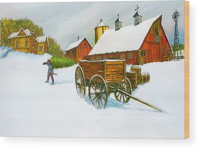 Old Illinois Barn Scene In Winter It Is A Color Lithograph Print Wood Print featuring the painting Illinois Farm With Barn In Winter by Robert Birkenes