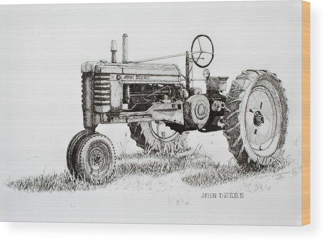 Tractor Wood Print featuring the drawing John Deere Awaiting Restoration by Scott Alcorn