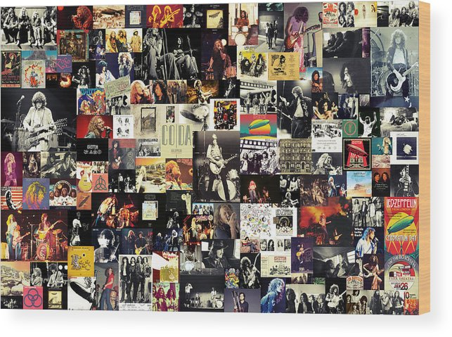 Led Zeppelin Wood Print featuring the digital art Led Zeppelin Collage by Zapista Zapista