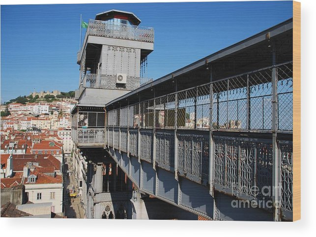 Cityscape Wood Print featuring the photograph Lisbon Cityscape With Castle And Santa Justa Elevator by Luis Alvarenga