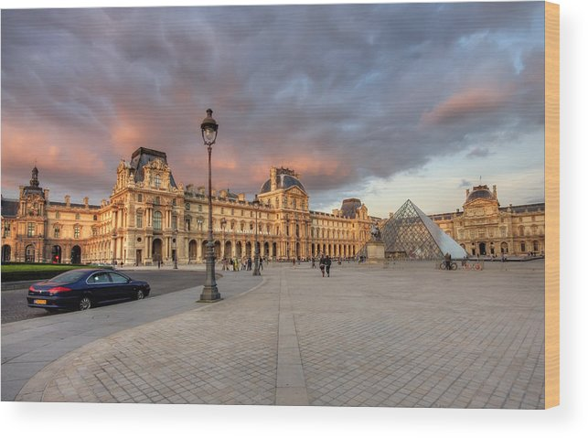 Arch Wood Print featuring the photograph Louvre Museum At Sunset by Ioan Panaite