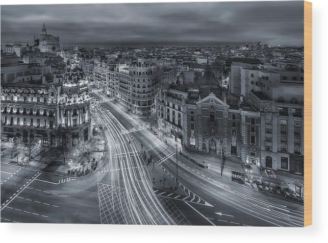 Night Wood Print featuring the photograph Madrid City Lights by Javier De La