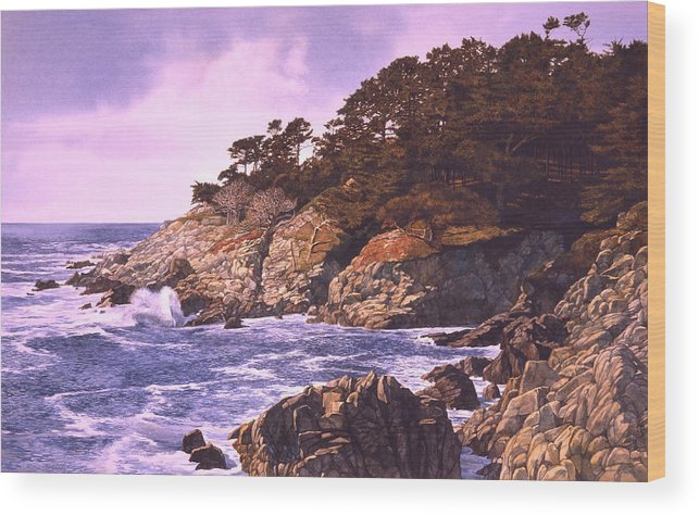 Seascape Wood Print featuring the painting Monterey Glory by Tom Wooldridge