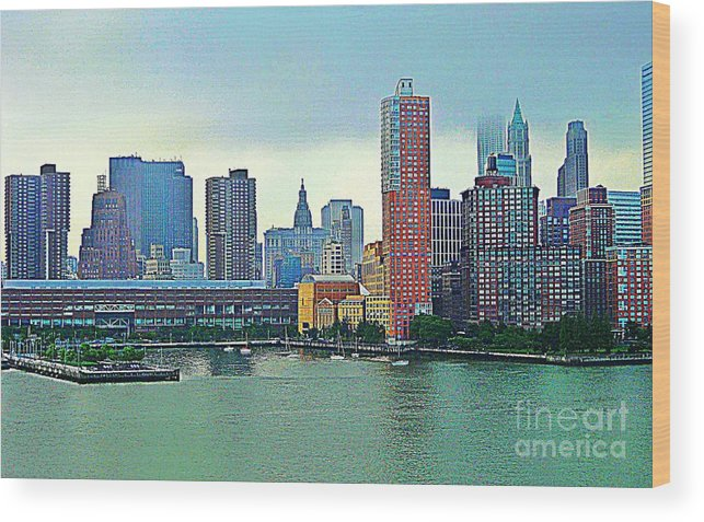 New York City Wood Print featuring the photograph New York City Landscape by Judy Palkimas